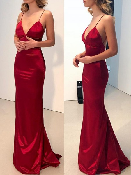 Sheath/Column Spaghetti Straps V-neck Silk like Satin Sweep/Brush Train Dress