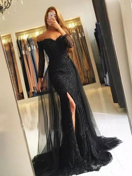 Trumpet/Mermaid Long Sleeves Off-the-Shoulder Sweep/Brush Train Tulle Lace Dress