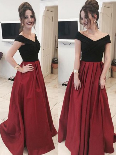 A-Line/Princess Sleeveless Off-the-Shoulder Long Ruffles Satin Dress
