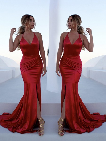 Trumpet/Mermaid Sleeveless Halter Sweep/Brush Train Ruffles Satin Dress