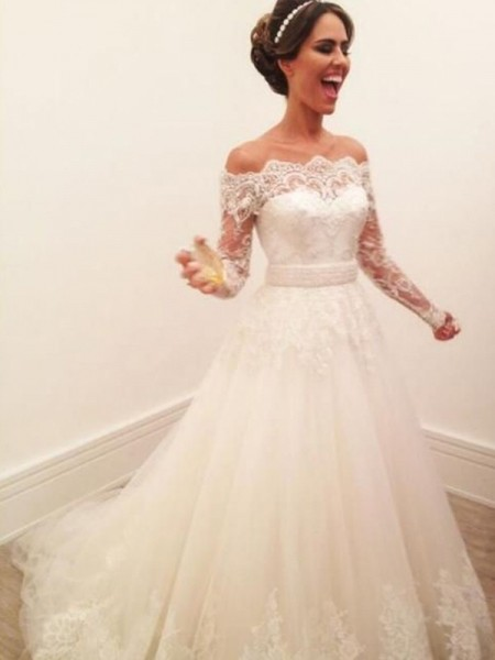 A-Line/Princess Off-the-Shoulder Long Sleeves Lace Tulle Sweep/Brush Train Wedding Dress