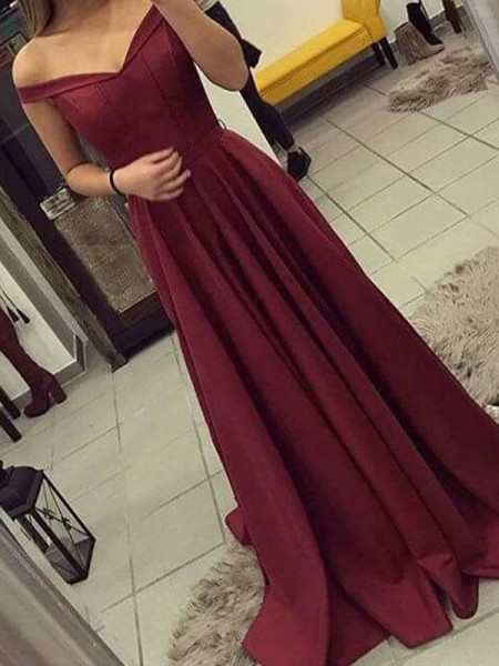 A-Line/Princess Off-the-Shoulder Sleeveless Ruched Satin Sweep/Brush Train Dress