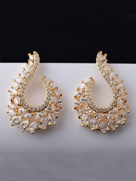 Trending Copper With Zircon Earrings For Ladies