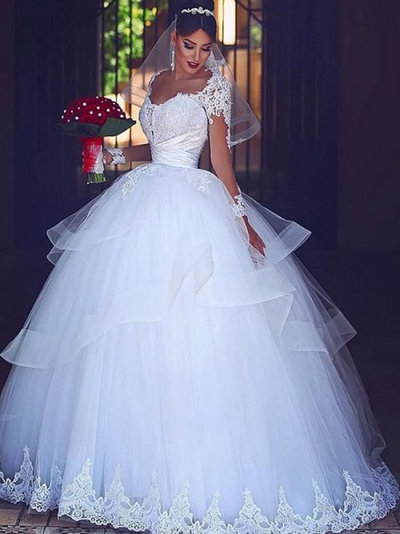Ball Gown Sweetheart Long Sleeves Floor-Length Wedding Tulle Dresses with Lace