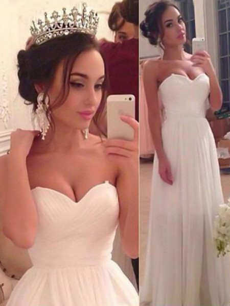 A-Line/Princess Sweetheart Sleeveless Floor-Length Ruffles Wedding Dresses with Chiffon