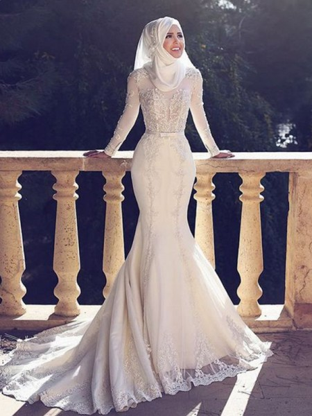 Trumpet/Mermaid Jewel Long Sleeves Sweep/Brush Train Wedding Tulle Dresses with Lace