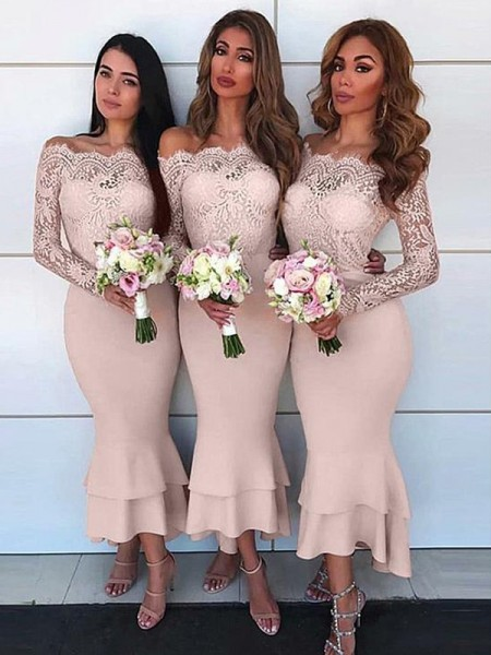 Ankle-Length Sheath/Column Off-the-Shoulder Long Sleeves Bridesmaid Dresses with Chiffon