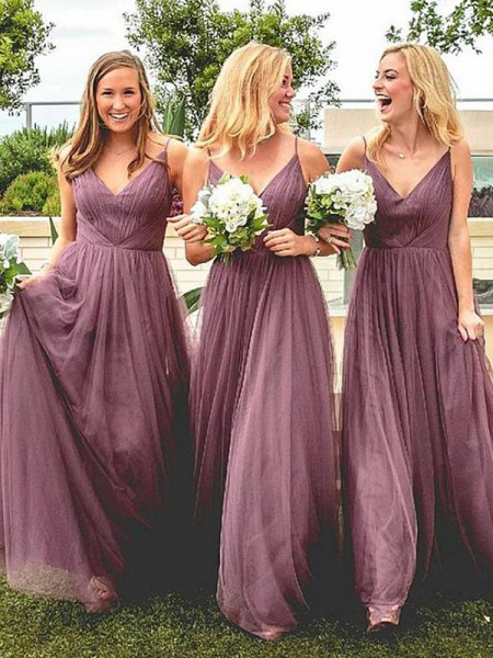 Floor-Length A-Line/Princess Spaghetti Straps Sleeveless Bridesmaid Dresses with Tulle