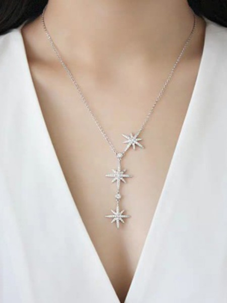Brilliant 925 Sterling Silver With Star Necklaces
