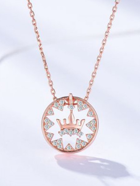 Fashion S925 Silver With Crown Necklaces