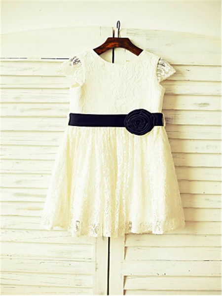 A-line/Princess Scoop Hand-made Flower Tea-Length Flower Girl Dress with Lace