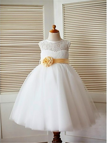 A-line/Princess Tea-Length Scoop Tulle Flower Girl Dress with Lace