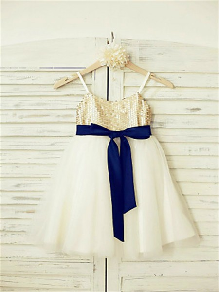 A-line/Princess Spaghetti Straps Sequin Ankle-Length Tulle Flower Girl Dress