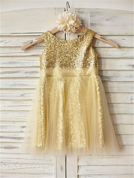 A-line/Princess Scoop Ruffles Tea-Length Sequins Flower Girl Dress