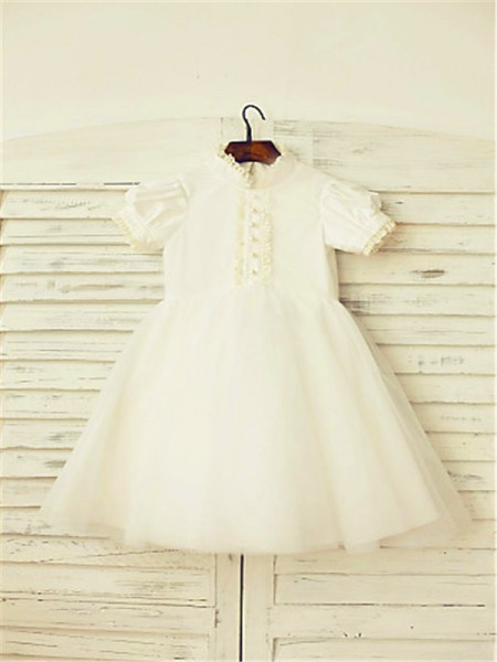 A-line/Princess High Neck Tea-Length Tulle Flower Girl Dress with Lace