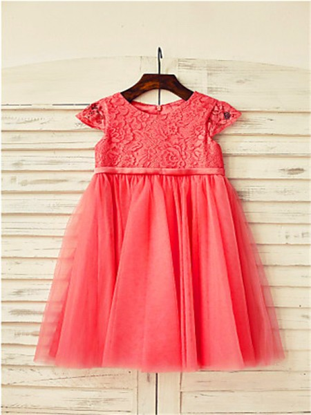 A-line/Princess Scoop Tea-Length Tulle Flower Girl Dress with Lace