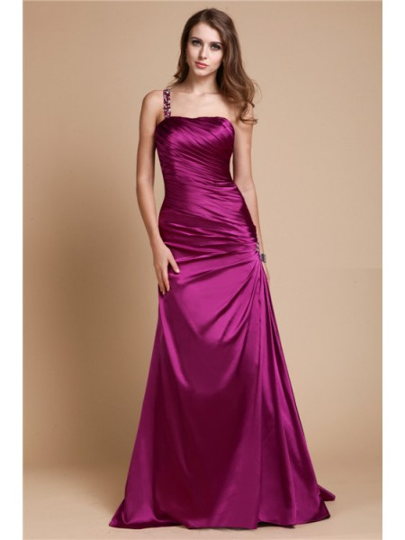 A-Line/Princess One Shoulder Long Elastic Woven Satin Dress