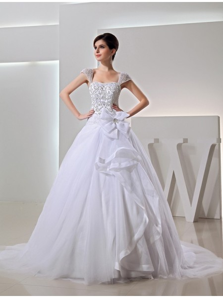 Long Ball Gown Embroidery Organza Wedding Dress