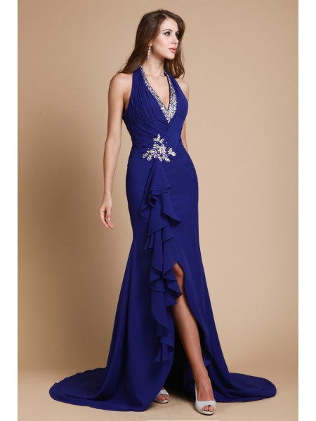 Trumpet/Mermaid V-neck Long Chiffon Dress