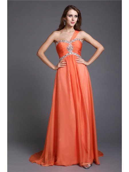 A-Line/Princess One-Shoulder Chiffon Dress