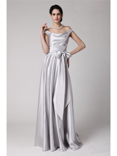 Sheath/Column Off-the-Shoulder Sash Long Elastic Woven Satin Dress