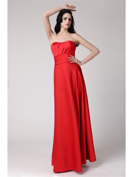 A-Line/Princess Strapless Pleats Long Elastic Woven Satin Bridesmaid Dress