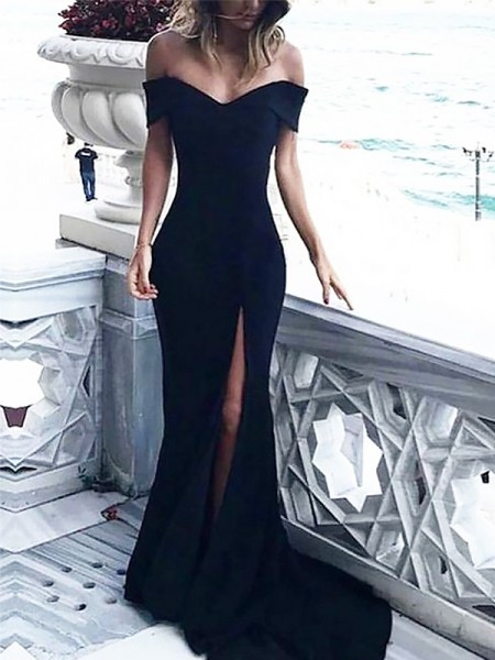 Sheath Off-the-Shoulder Court Train With Ruched Spandex Dress