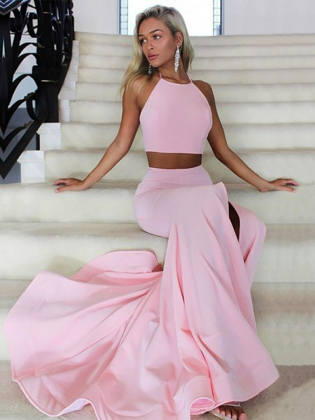 A-Line Halter Sweep/Brush Train With Ruffles Satin Two Piece Dress