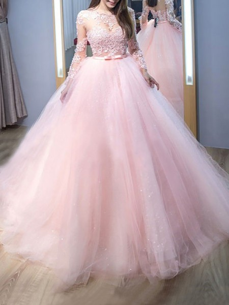 Ball Gown Jewel Sweep/Brush Train Tulle Dress with Lace