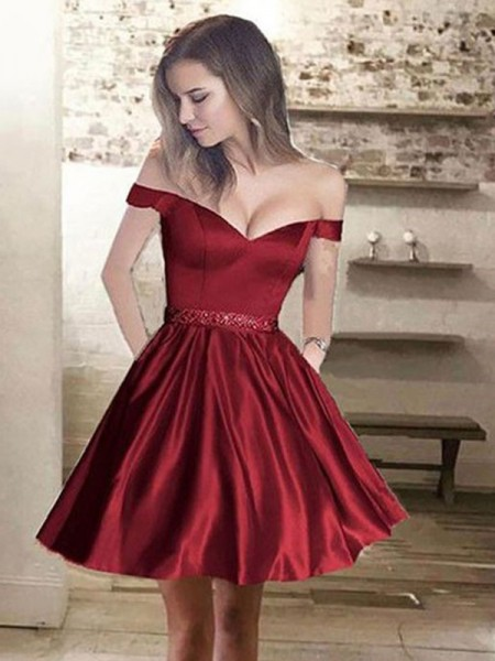 A-Line/Princess Off-the-Shoulder Satin Beading Short/Mini Dress