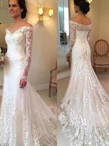 Trumpet/Mermaid Court Train Long Sleeves Applique Lace Wedding Dress