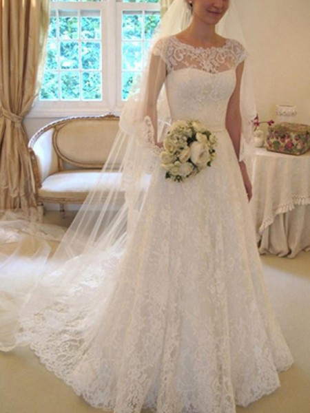A-Line/Princess Short Sleeves Square Court Train Applique Lace Wedding Dress
