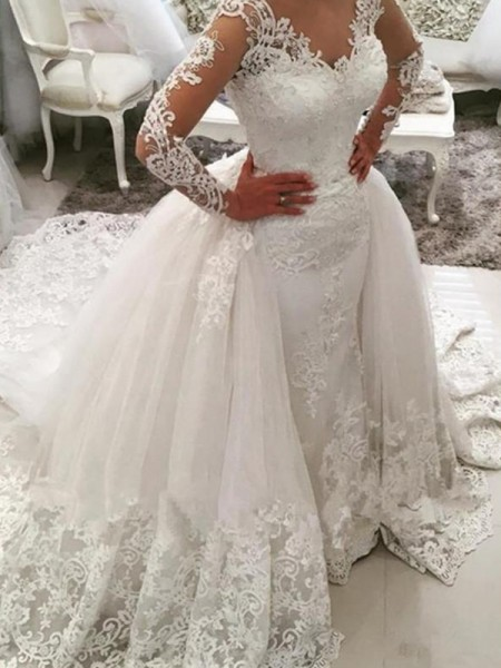 Ball Gown V-neck Long Sleeves Cathedral Train Applique Lace Tulle Wedding Dress