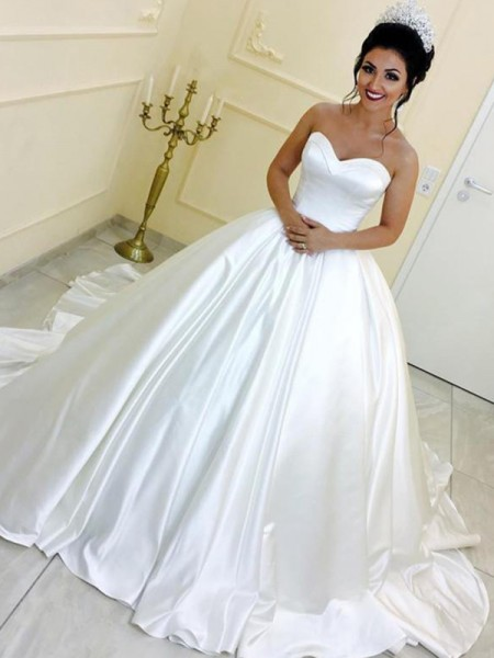Ball Gown Sweetheart Satin Sleeveless Cathedral Train Wedding Dress