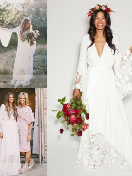 A-Line/Princess V-neck Lace Chiffon Long Sleeves Sweep/Brush Train Wedding Dress