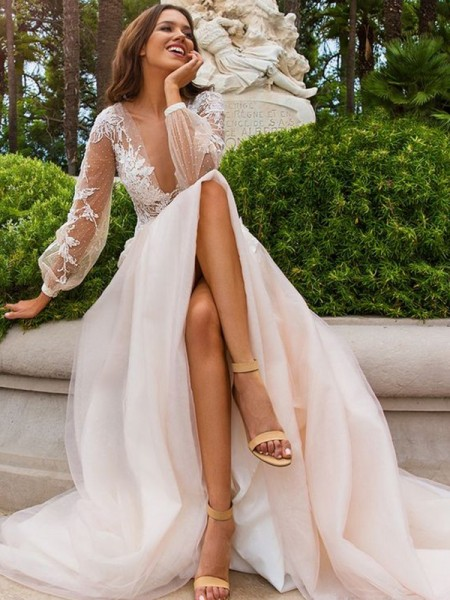 A-Line/Princess Long Sleeves Tulle V-neck Sweep/Brush Train Wedding Dress