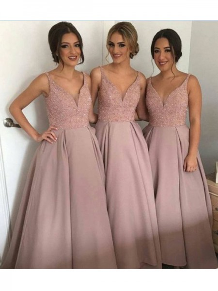 A-Line/Princess V-neck Floor-Length Taffeta Bridesmaid Dress