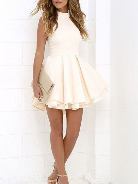 A-Line/Princess Halter Satin Short/Mini Dress