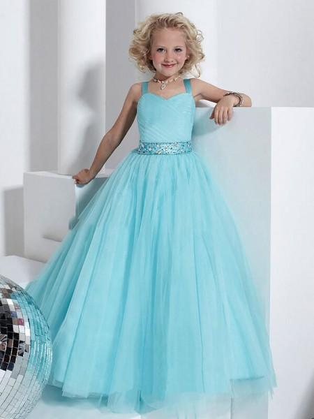 Ball Gown Straps Crystal Floor-Length Tulle Flower Girl Dress