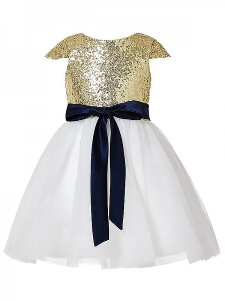 A-Line/Princess Jewel Sequins Tulle Tea-length Flower Girl Dress