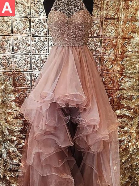 Ball Gown Halter Beading Sweep/Brush Train Organza Dress
