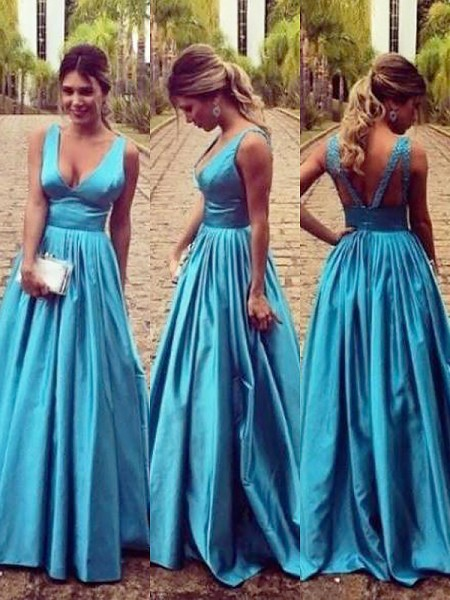 A-Line/Princess V-neck Elastic Woven Satin Ruched Floor-Length Dress
