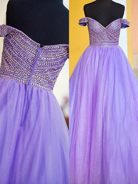 Ball Gown Off-the-Shoulder Beading Floor-Length Tulle Dress