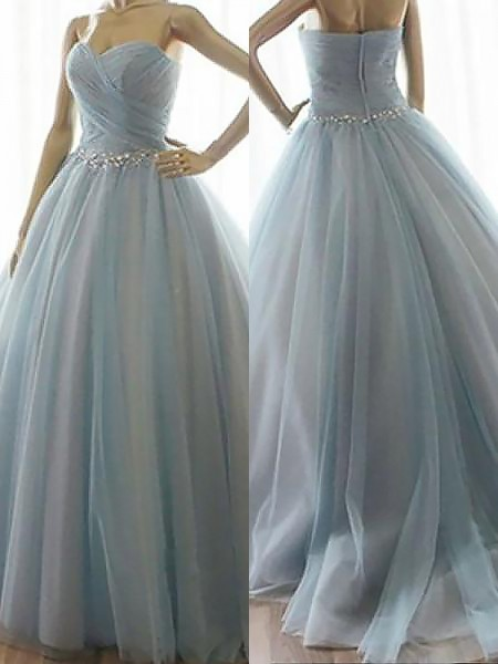 Ball Gown Sweetheart Beading Floor-Length Tulle Dress