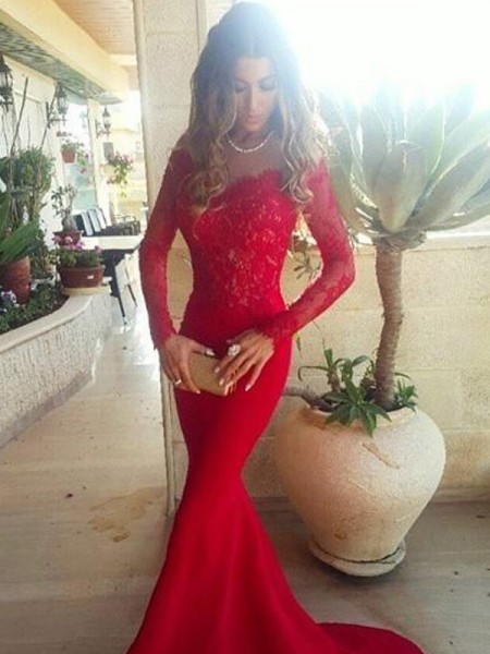 Trumpet/Mermaid Off-the-Shoulder Long Sleeves Lace Sweep/Brush Train Satin Dress