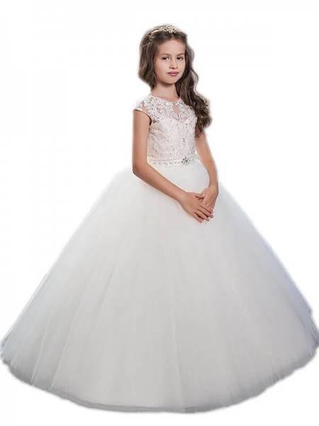 Ball Gown Scoop Beading Floor-Length Tulle Flower Girl Dress