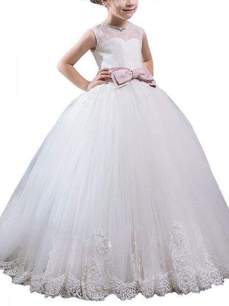 Ball Gown Scoop Sash/Ribbon/Belt Floor-Length Tulle Flower Girl Dress