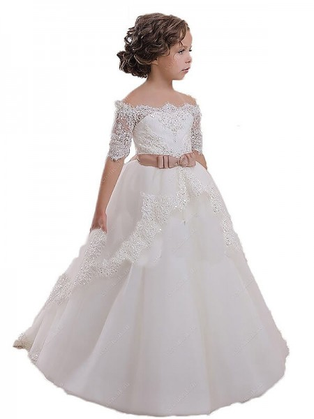 Ball Gown Off-the-Shoulder Sash/Ribbon/Belt Tulle Flower Girl Dress