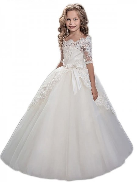 Ball Gown Off-the-Shoulder Applique Floor-Length Tulle Flower Girl Dress