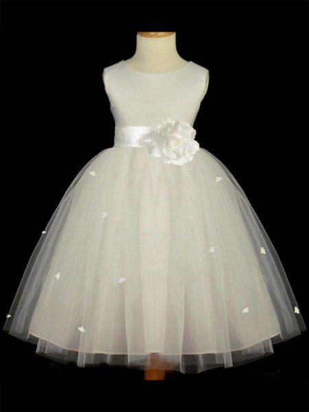 A-line/Princess Scoop Hand-made Flower Flower Girl Dress with Tulle